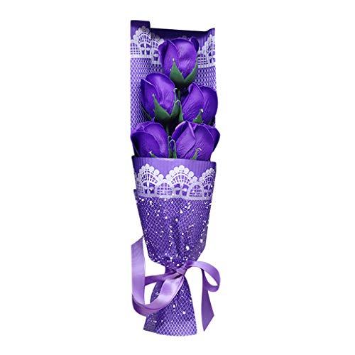 (Exquisite Rose Petals Soap Box, Rose Soap Flower Bouquet Gift Box Plant Essential Oil Soap Set Guest Soap shaped Petals Gifts Ideas for DIY Wedding Bouquets Centerpieces Arrangements Party (Purple))