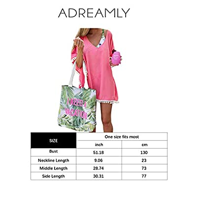 Adreamly Women's Pom Pom Trim Kaftan Chiffon Swimwear Bathing Suit Beach Cover Up Free Size Coral Pink at Women's Clothing store