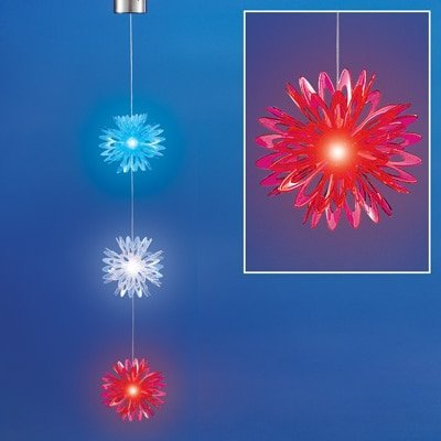 Patriotic Christmas Lights.Solar Lighted Patriotic Flower Dangler Americana 4th Of July Decoration