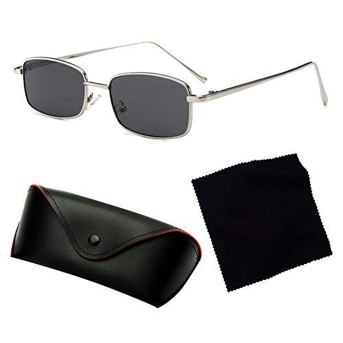 Gafas Negras Hombres de juqilu de de Metal Gafas Rectángulo C5 para Marco UV400 Cuadradas Pequeñas Sol Sol Mujeres xBxqFzO
