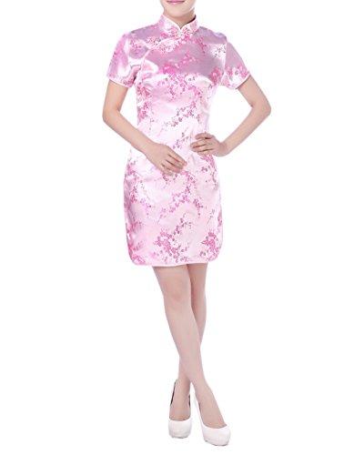 Manche Brocart Asiatique Soire Femme de Qipao Robe en Rose Party Cheongsam Courte Court avec TM XueXian aBxq6YnwPn