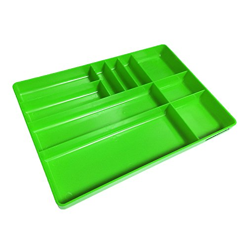 OEMTOOLS 22213 10 Compartment Green Low-Profile Drawer Organizer Tray with Rolled Edges for Organizing Tools and Small Parts