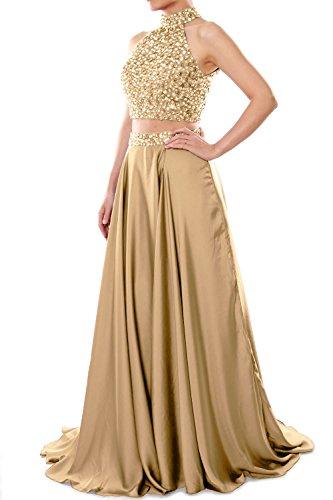 MACloth Women Two Piece High Neck Long Prom Homecoming Dress Evening Ball Gown (EU38, Negro)