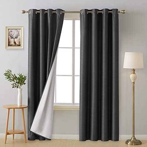 84l Panel (Deconovo Grommet Top Blackout Curtain Panels Thermal Insulated Room Darkening Curtains with Thermal Insulated Lining for Living Room Dark Grey 52W x 84L Inch 2 Panels)