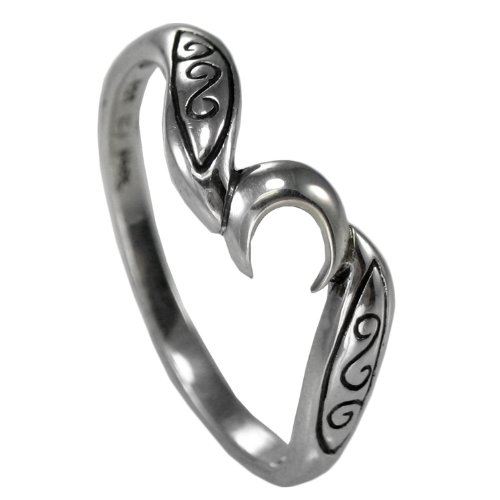 Sterling Silver Crescent Moon Wiccan Goddess Ring -  Size 4 - 15