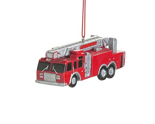 Red Fire Truck Resin Hanging Christmas Ornament - Size 4 in.
