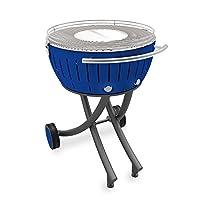 Lotusgrill Lotusgrill Edelstahl Stahl Kunststoff klein blau Balkon Camping Picknick ✔ rund ✔ tragbar rauchfrei ✔ Grillen mit Holzkohle ✔ für den Tisch