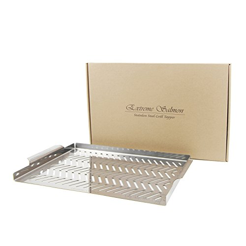 Food-Grade Stainless Steel Grill Topper - Best Grilling Utensils on Charcoal & Gas Grills - Barbecue Wok Topper Gift for Family and Dad - Extreme Salmon