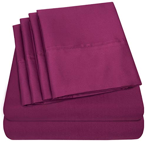 King Size Bed Sheets - 6 Piece 1500 Thread Count Fine Brushed Microfiber Deep Pocket King Sheet Set Bedding - 2 Extra Pillow Cases, Great Value, King, Berry