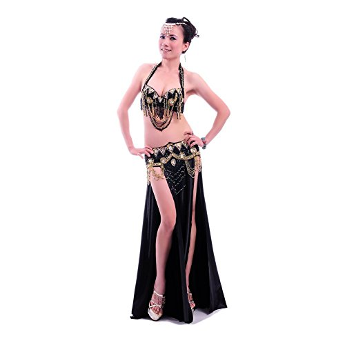 Tribal Belly Dancing (ROYAL SMEELA Women Belly Dance Costume Set Black Belly Dance Bra and Belt and Long Dance Dress Sexy Belly Dancing Outfit 3pcs, Medium Size)