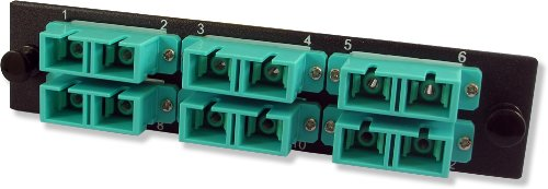 (Lynn Electronics 12 Fiber SC 10GIG Multimode Adapter Strip, 6 Duplex SC 10GIG Ports, LGX Footprint)