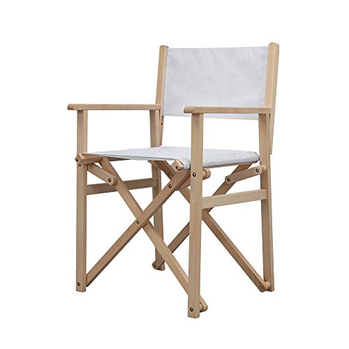(Vispronet 18.5in Wooden Director's Chair, Natural Beech Wood Frame, Holds up to 225lbs)