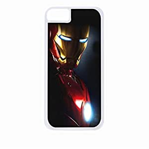 Iron man side profile - Hard White Plastic Snap - On Case with Soft Black Rubber Lining-Apple Iphone 5c Only - Great Quality!