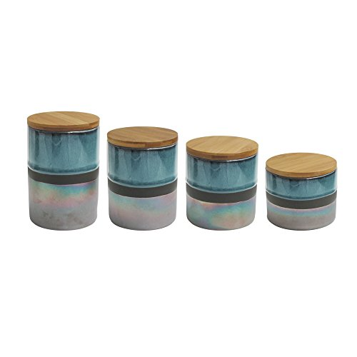 American Atelier 7016-CAN-RB 4 Piece Abingdon Canister Set, 17'' x 4.2'' x 8'', Green/Silver by American Atelier