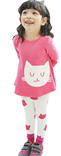 Little Girls Toddlers Long Sleeve Top and Leggint Clothing Set with Cat Print