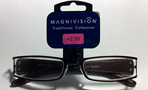 Magnivision Traditional Collection Metal Frame Reading Glasses Naples 2.5 (4 pack) by Foster Grant (Metal Naples)