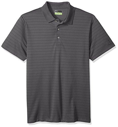 PGA TOUR Men's Short Sleeve Tonal Double Line Stripe Polo, Iron Gate XXL ()