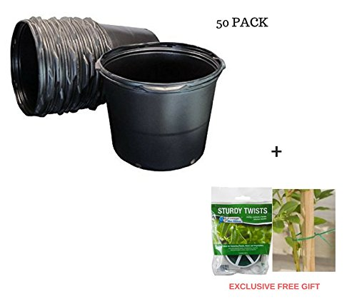 5 Gal nursery Trade Pots (4.02 gal / 15.19 Liters) 50 PACK + FreeGift by Viagrow