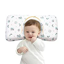 Baby Pillow Anti Flat Head, Mkicesky Memory Foam Infant Pillow for 0-2T Baby Girl and Boy, Newborn Head Shaping Sleeping Pillow with Neck Support, Washable Cotton Cover - Giraffe White