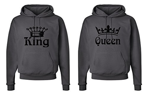 - FASCIINO Matching His & Hers Couple Hooded Sweatshirt Set - King and Queen Crowns (King Shirt: Large/Queen Shirt: Large Smokie Gray)