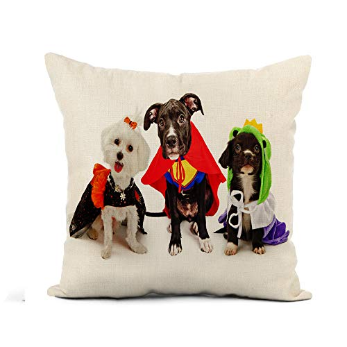 Awowee Flax Throw Pillow Cover Three Cute Little Puppy Dogs Dressed Up in Halloween 18x18 Inches Pillowcase Home Decor Square Cotton Linen Pillow Case Cushion Cover]()