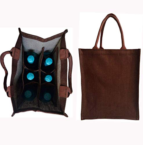 KVR natural Brown Jute burlap wine beer water bottle cum can carrier bag with option to use as Grocery & lunch bag, Eco Environment Friendly versatile flexible (6 bottle bag, Brown)
