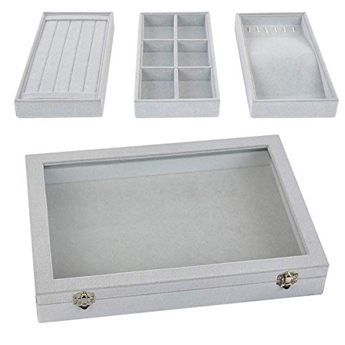 Stackable Jewelry Tray with Lid, Earring Drawer Insert