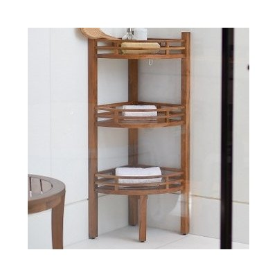 Freestanding Corner Shelf for Bathroom Made w/ Teak Wood in Brown 42'' H x 14.6'' W x 14.6'' D in