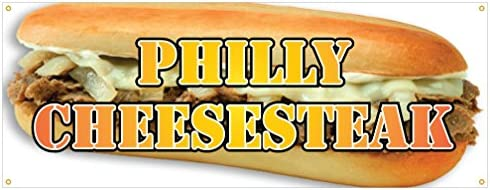"""24/"""" Philly Cheesesteak Sticker Sub Hoagie Cheese Steak Concession Stand Sign"""