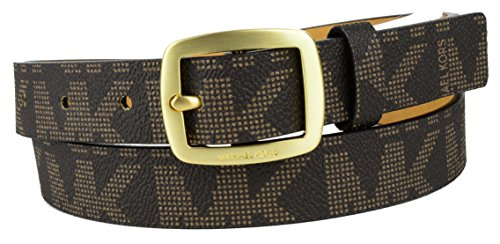 Michael Kors Womens Thin Brown MK Logo Belt Gold Buckle Sz X Large (Michael Kors Brown Belt)