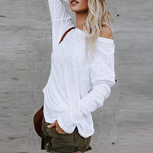 249a3bc6388ba Sunhusing Ladies Solid Color Large Size Undecorated T-Shirt Loose Casual  Long Sleeve Chic Top White