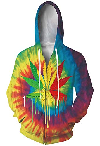 (Goodstoworld Unisex 3D Zip Colorful Hoodie Printed Hoodies Casual Workout with Pockets)