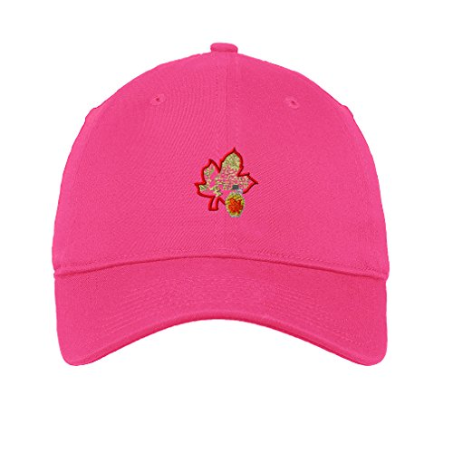 Sugar House Farm Embroidery Unisex Adult Flat Solid Buckle Cotton 6 Panel Low Profile Hat Cap - Hot Pink, One Size (Sugar Pink Hat)
