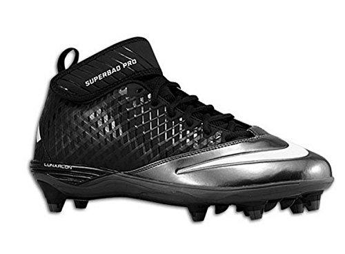 All Pro Leather Football (Nike Men\'s Lunar Super Bad Pro D Football Cleat, Black/Metallic Silver-Tornado, Size 10 M US)