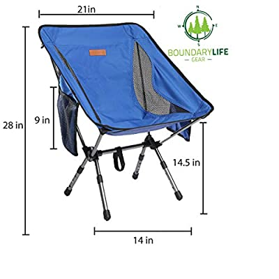 Boundary Life Backpacking Chair: Lightweight for Camping Backpacking Hiking or Hunting - Folding Compact Collapsible and Chairs fit in a Backpack Portable Folding Chair Beach (Blue): Automotive