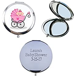 12 Pcs Personalized Compact Mirror Favors Baby Girl Shower Pink / Makeup Purse Mirrors with Organza bag