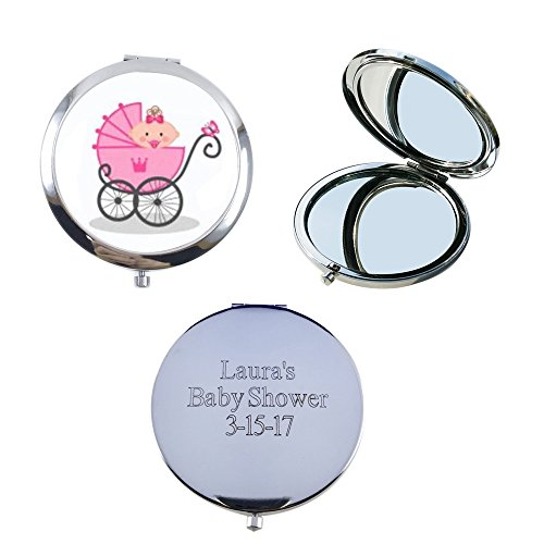 Personalize Custom Laser Engraving Baby Shower Compact Mirror Favor / Makeup mirrors with Organza Favor bags12pcs/pack (Pink) - Custom Compact Mirrors
