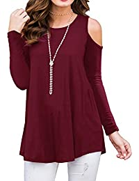 Women's Long Sleeve Casual Cold Shoulder Tunic Tops Loose...
