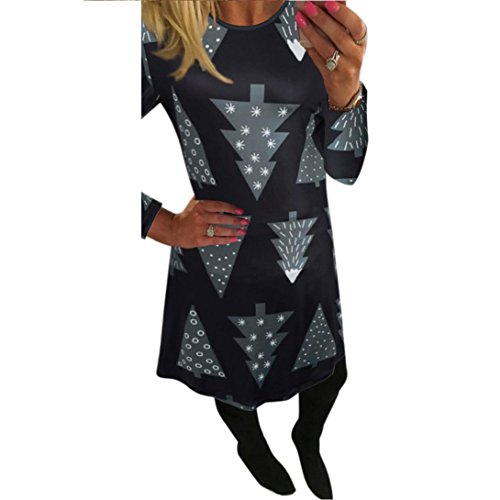 [AMA(TM) Women Christmas Xmas Long Sleeve Swing Flared Party Dress (X-Large, Black 2)] (Xxl Santa Suits For Sale)