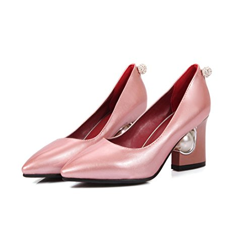 da sposa Scarpe Leather scarpe Patent pink Shallow chunky da scarpe Punta sposa da Pointed YWNC Low 42 Mouth alti Tacchi donna Bright Shoes Tacco T1wBY8q
