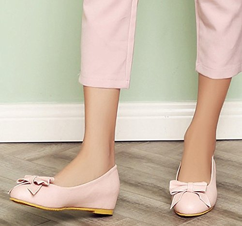 Idifu Womens Sweet Bows Tacchi Bassi Nascosti Allinterno Slip On Low Top Pumps Shoes Pink