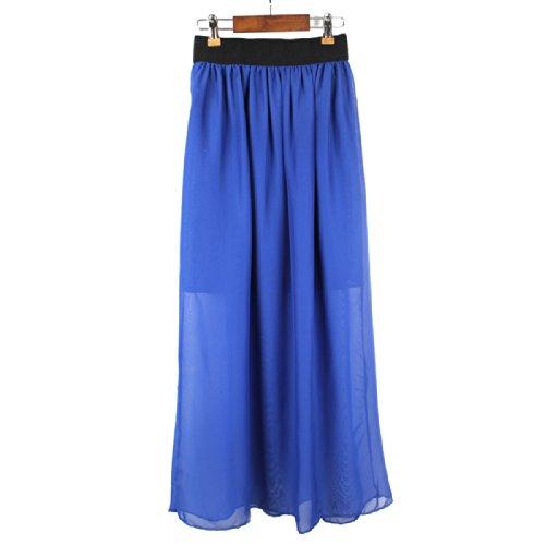 femmes mousseline de soie maxi jupe (chiffon maxi skirt) bleu royal - royal blue