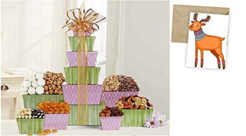 Tower Of Sweets Gift Basket for Christmas and personalized card mailed seperately, CD3240176