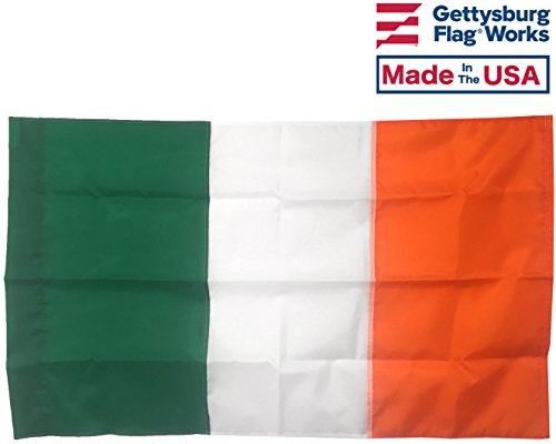 Cheap 2.5×4′ Ireland All- Weather Nylon Outdoor Flag, with pole sleeve for house mounted poles Made In USA