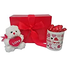 Mother's Day Gift Set with Mug and Red Teddy Bear and Heart Chocolates in Scarlet Gift Box