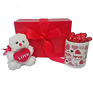 Amazon Com Mother S Day Gift Set With Mug And Red Teddy Bear And