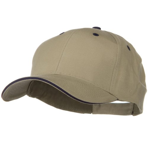 Solid Brushed Twill Sandwich Visor Cap - Khaki Navy Brushed Twill Sandwich