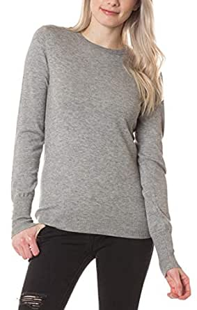Daisy Del Sol Womens Pearl Button Long Sleeve Soft Cashmere Feel Crew Neck Pullover Warm Fitted Knit Sweater Top (Large, Heather Grey)