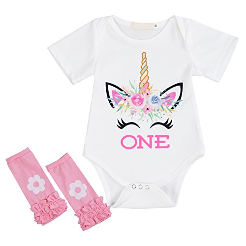 - Little Girl Newborn It's My 1st Birthday 3 Pcs/4 pcs Outfits Romper+Skirt+Headband(+Leggings) Cake Smash Party Clothing Set 2pcs White Smile Unicorn 6-12 Months