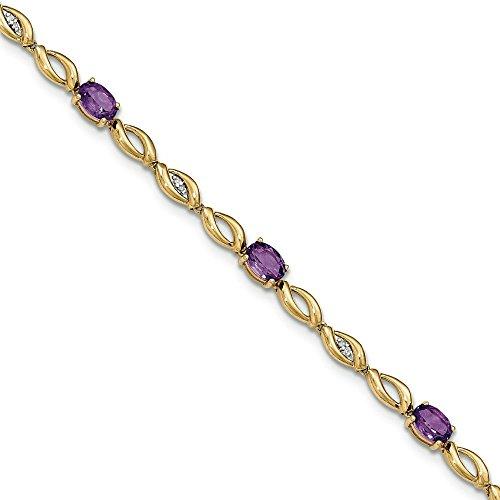 14 carats avec diamant et améthyste-JewelryWeb